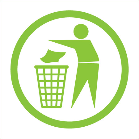Ilustración de Keep clean icon. Do not litter sign. Silhouette of a man in the green circle, throwing garbage in a bin, isolated on white background. No littering symbol. Public Information Icon. Vector illustration - Imagen libre de derechos