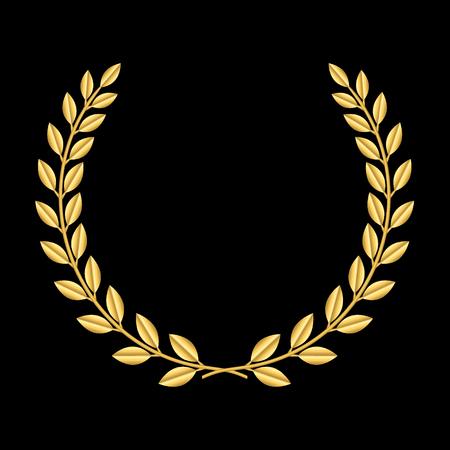 Illustration pour Gold laurel wreath. Symbol of victory and achievement. Design element for decoration of medal, award, coat of arms or anniversary logo. Golden leaf silhouette on black background. Vector illustration. - image libre de droit