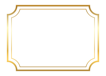 Ilustración de Gold frame. Beautiful simple golden design. Vintage style decorative border, isolated on white background. Deco elegant art object. Empty copy space for decoration, photo, banner. Vector illustration. - Imagen libre de derechos