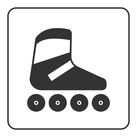 Roller skate icon. Flat design. Black skating equipment sign isolated on white background in frame. Symbol of sport, relaxation, activity and extreme, leisure, fitness Vector illustration