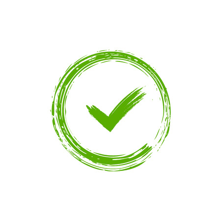 Illustration pour Tick sign element. Green checkmark icon isolated on white background. Simple mark design. Circle shape OK button for vote, decision, web. Symbol of correct, check, approved Vector illustration - image libre de droit