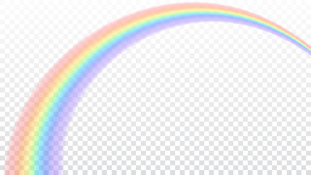 Ilustración de Rainbow icon. Shape arch realistic isolated on white transparent background. Colorful light and bright design element. Symbol of rain, sky, clear, nature. Graphic object Vector illustration - Imagen libre de derechos