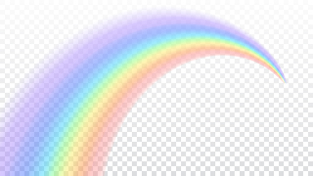 Photo for Rainbow icon. Shape arch realistic isolated on white transparent background. Colorful light and bright design element. Symbol of rain, sky, clear, nature. Graphic object Vector illustration - Royalty Free Image