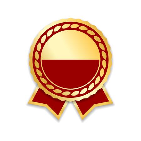 Illustration pour Award ribbon isolated. Gold red design medal, label, badge, certificate. Symbol best sale, price, quality, guarantee or success, achievement. Golden ribbon award decoration Vector illustration - image libre de droit