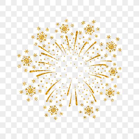 Ilustración de Firework gold isolated. Beautiful golden firework on transparent background. Bright decoration Christmas card, Happy New Year celebration, anniversary, festival. Flat design Vector illustration - Imagen libre de derechos