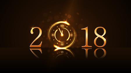 Ilustración de Happy New Year card background. Magic gold clock countdown. Golden numbers 2018. Christmas and New Year night glitter clock. Design decoration. Symbol wish, celebration Vector illustration - Imagen libre de derechos
