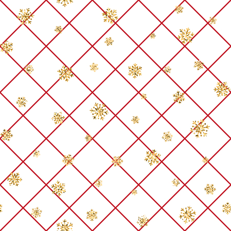 Illustration pour Christmas gold snowflake seamless pattern. Golden snowflakes on red and white rhombus background. Winter snow texture wallpaper. Symbol holiday, New Year celebration Vector illustration - image libre de droit