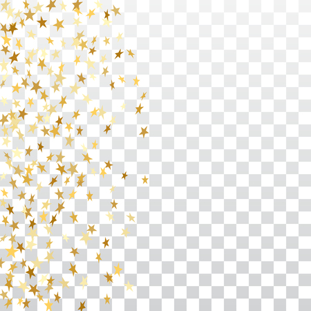 Ilustración de Gold stars falling confetti frame isolated on transparent background. Golden abstract pattern Christmas, New Year holiday celebration, festive, party. Glitter explosion Vector illustration - Imagen libre de derechos