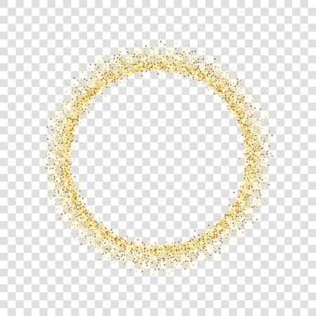 Ilustración de Gold circle glitter frame. Golden confetti dots round, white transparent background. Bright texture pattern for Christmas celebration party, New Year card border. Abstract design Vector illustration - Imagen libre de derechos