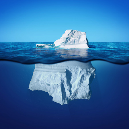 Photo pour Underwater view of iceberg with beautiful transparent sea on background - image libre de droit