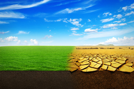Foto de A Climate Change Concept. Beautiful Landscape of a green grass and extreme dry drought land - Imagen libre de derechos