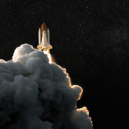 Photo for Spaceship rocket and starry sky. spacecraft flies into space with clouds of smoke - Royalty Free Image