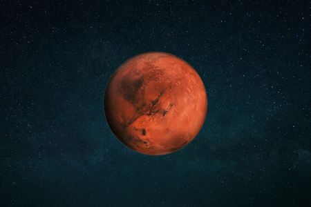 Photo pour Planet Mars in the starry sky. Red planet in space - image libre de droit