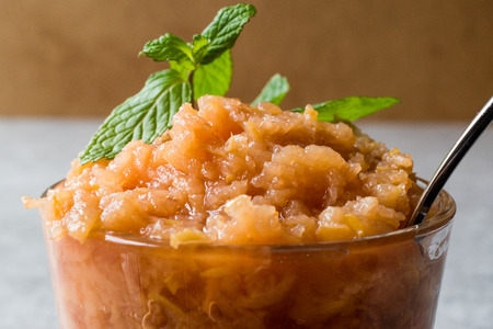 Foto de Homemade Italian Mandarin Granita Ice Cream with Mint. Organic Food. - Imagen libre de derechos
