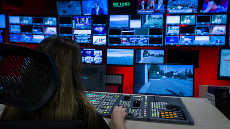 Photo for Video Switcher and a lot of Screens for Broadcasting Live at Tv Control Room - Royalty Free Image