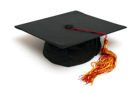 An isolated grad hat to symbolize a student graduating.