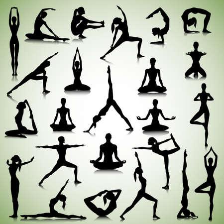 Ilustración de Male and female silhouettes of  yogi - Imagen libre de derechos