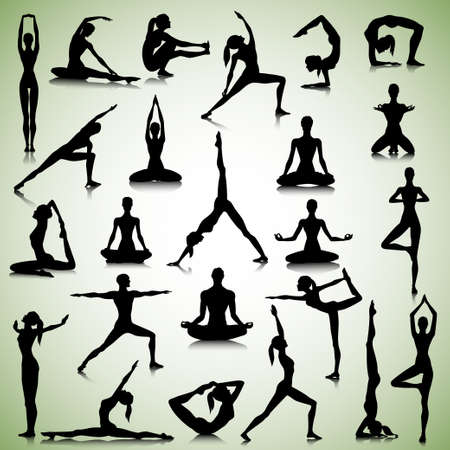 Illustration pour Male and female silhouettes of  yogi - image libre de droit