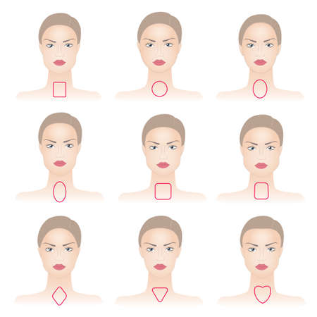 Photo pour Set of woman face shapes on abstract background - image libre de droit