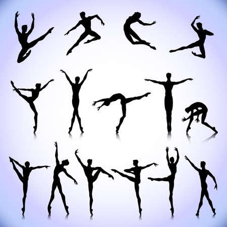 Illustration pour Set of black silhouettes. Male ballet dancers - image libre de droit