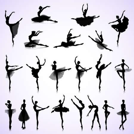 Illustration pour Set of female silhouettes of ballet dancers - image libre de droit