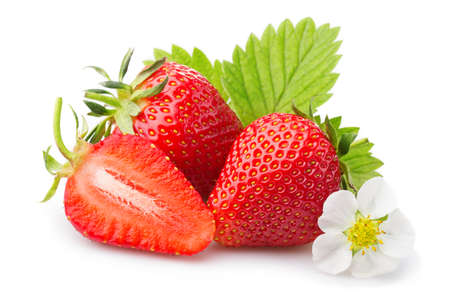 Foto de Strawberries with leaves and blossom. Isolated on a white background - Imagen libre de derechos