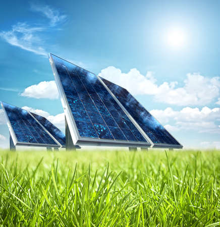Photo pour Solar panel in the green - image libre de droit
