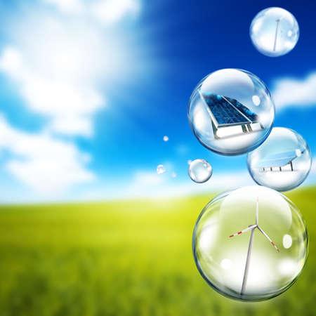 Photo pour  Solar panel and wind turbine  inside soap bubbles - image libre de droit