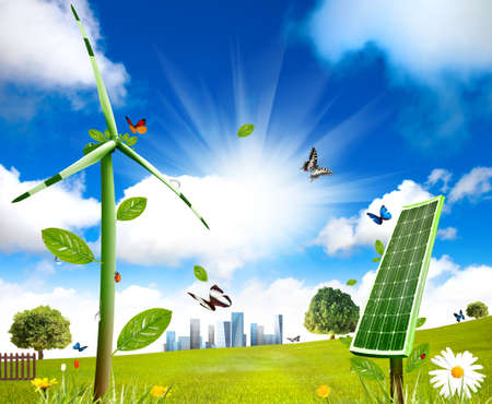 Photo pour Wind turbine and solar cell grows in the field - image libre de droit