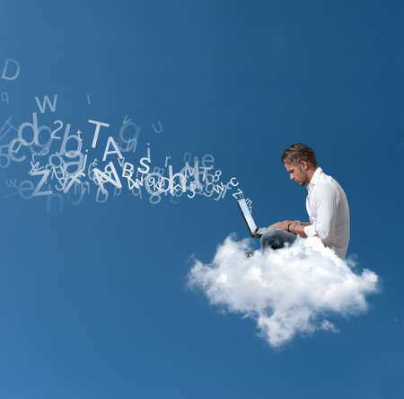 Foto de Concept of a businessman that works over a cloud - Imagen libre de derechos