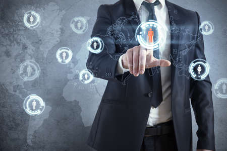 Businessman with modern social network virtual interface