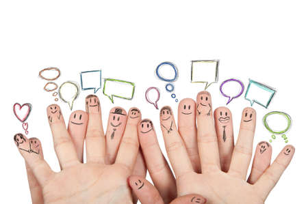 Foto per Concept of social netowork with hands - Immagine Royalty Free