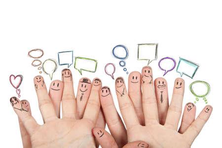 Photo pour Concept of social netowork with hands - image libre de droit