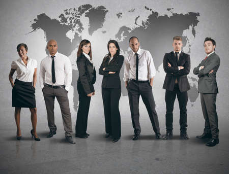 Concept of global business team on white background