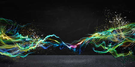 Photo pour Modern abstract motion banner on dark background - image libre de droit