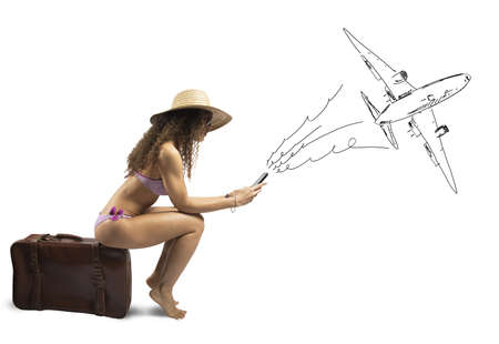 Foto de Concept of girl ready to travel with airplane - Imagen libre de derechos
