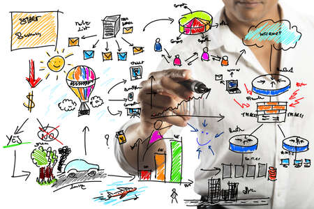 Foto de Businessman drawing a new business project - Imagen libre de derechos