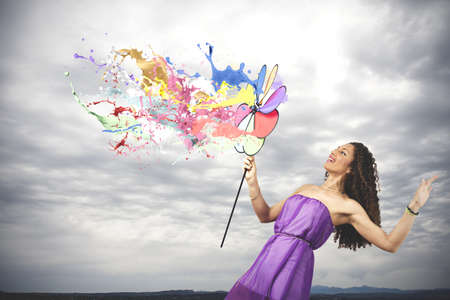Photo for Colorful fashion concept with catherine wheel - Royalty Free Image