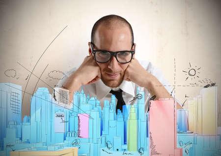 Foto de Architect and vision sketch of a new project - Imagen libre de derechos