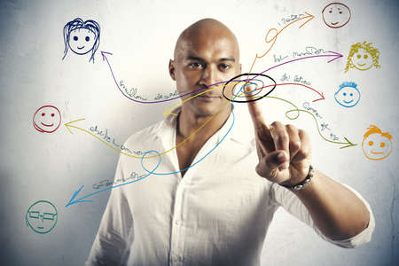 Photo pour Social network concept with drawings of people - image libre de droit