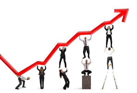 Foto de Teamwork and corporate profit with red statistical trend - Imagen libre de derechos