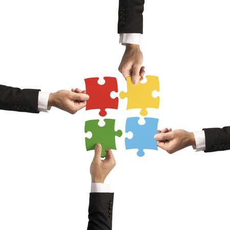 Foto für Teamwork and partnership concept with puzzle - Lizenzfreies Bild