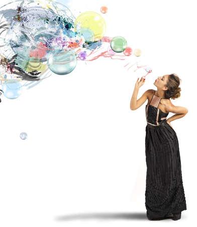 Foto de Creative fashion girl with soap ball - Imagen libre de derechos