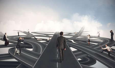 Photo pour Concept of competition and easy way of a businessman - image libre de droit