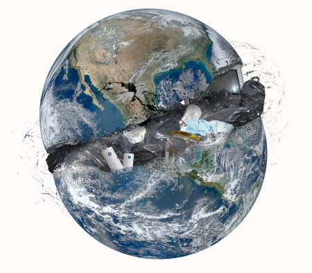 Foto de Concept of garbage with opened world.  - Imagen libre de derechos