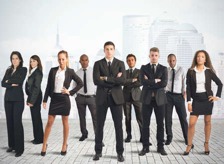 Photo pour Concept of business team with businessman and businesswoman - image libre de droit