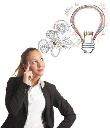Photo pour Concept of building an idea of a businesswoman - image libre de droit