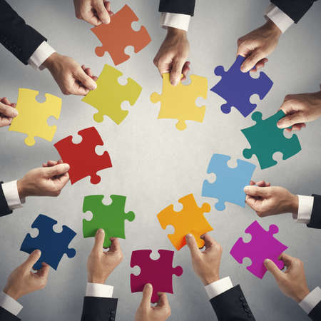 Photo for Teamwork and integration concept with puzzle pieces - Royalty Free Image