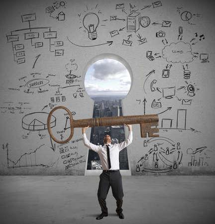 Foto de Concept of businessman with the key to success - Imagen libre de derechos