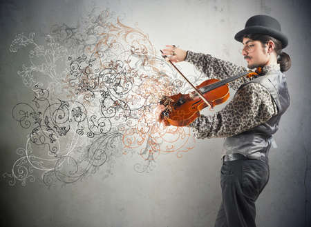 Photo for Young violinist with vintage flower effect - Royalty Free Image